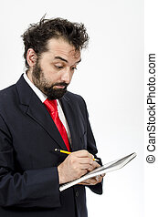 Confused Employee Taking Notes