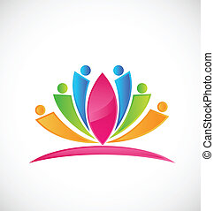 Lotus flower people logo - Lotus flower abstract color...
