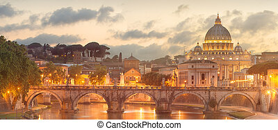 Vatican view from the bridge after sunset, Rome - View of...