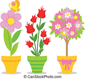 Cute flower pots - A set of colorful pots with spring and...