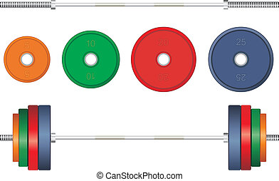 Multicolor barbell on white background. Vector illustration