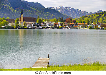 lake Tegernsee in Bavaria - panorama landscape of lake...