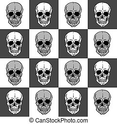 Seamless pattern with skulls over black and white background