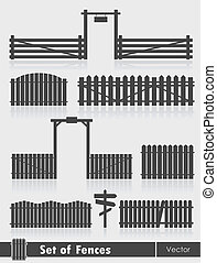 Set of black fences with gate isolated over grey background