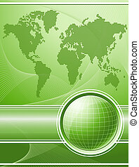 Green background with globe and world map