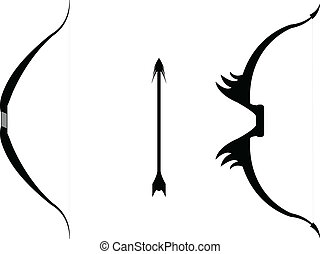 Bow and Arrow - Vector silhouette of two bows and an arrow.