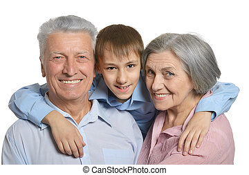 Grandparents with grandson - Happy Grandparents with...
