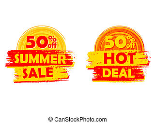 50 percentages off summer sale and hot deal with sun signs, draw