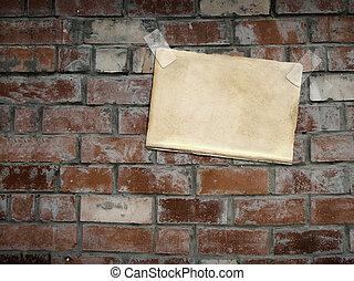 folhas, papel, penduradas, tijolo, parede