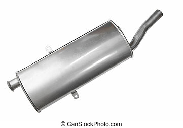 Car Muffler on a White bakcground