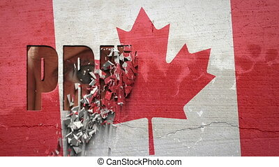 Spying Eyes Crumbling Wall Canada - Canadian flag painted on...