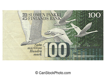Hundred Finnish Marks Note - Macro photograph of hundred...
