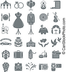 Wedding Icons Dark Silhouettes - Set of dark silhouette...