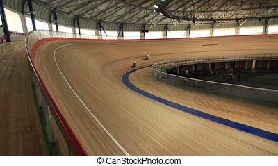 Cycling track Pursuit tracking focu - Bicycle Race velodrome...