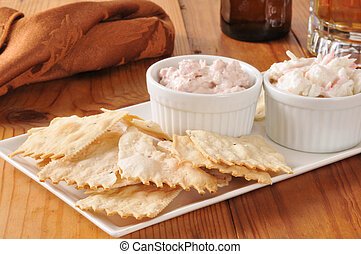 Flatbread crackers with dips and beer - Gourmet flatbread...