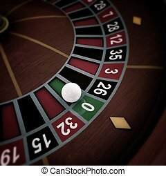 white ball on roulette wheel - white ball running on...