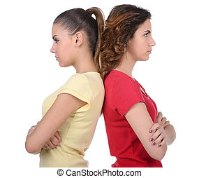 Jealousy - Friendship is over. Two angry women standing back...