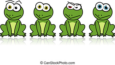 Illustrated vector frogs - Illustrated vector green frogs...