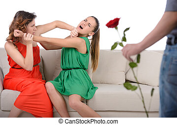 Jealousy - Two angry woman fighting for a man, isolated over...