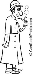 retro detective cartoon coloring book - Black and White...