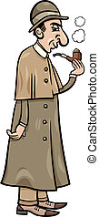 retro detective cartoon illustration - Cartoon Illustration...