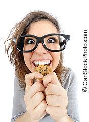 divertido, Geek, niña, comida, galleta