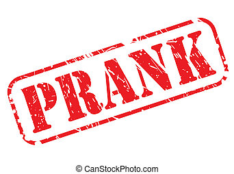 Prank red stamp text on white