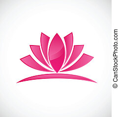 Lotus pink flower logo design vector
