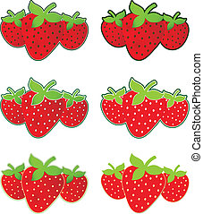 Strawberries - Trio of ripe read strawberries in isolated...