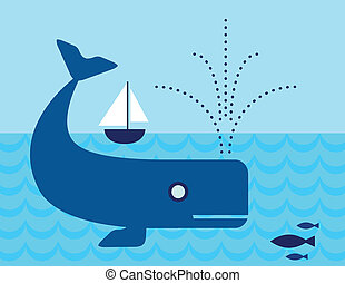 Whale in the ocean swimming under a - Sperm whale blowing...