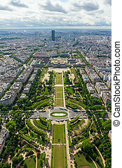 View of Paris, the Champ de Mars from the Eiffel tower -...
