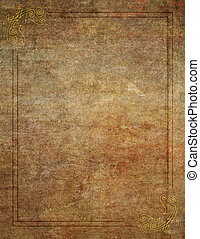 Wood Like Background with Corner Design Border - An old...