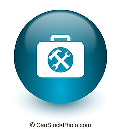toolkit icon - blue glossy web icon