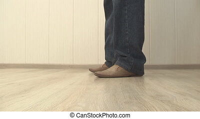 man cleans wrong shoes