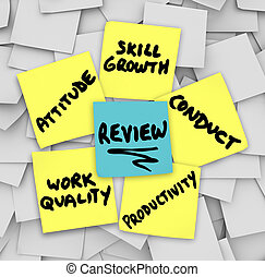 Performance Review Sticky Notes Attitude Conduct Work...
