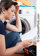 problema, lavando, máquina