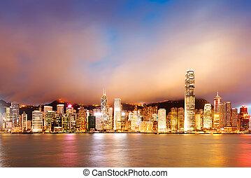 Hong Kong night view of Victoria Harbor, Hong Kong Island...