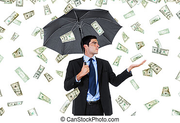 Windfall - Stock image of businessman with umbrella and...