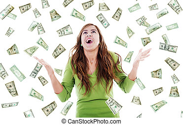 Windfall - Stock image of ecstatic woman trying to catch...