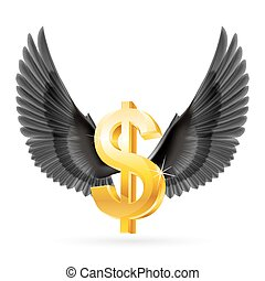 Flying dollar - Golden United States dollar symbol with...