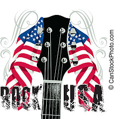 Rock USA - Red white and blue flag and Guitar Rock USA