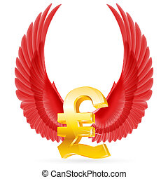 Flying pound - Golden Great Britain pound symbol with red...