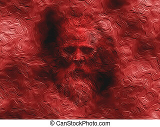 Abstract Wise Man - Wise old man blended into a red...