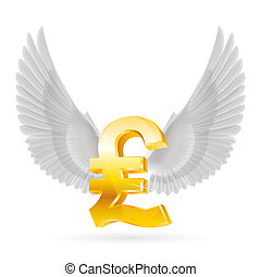 Flying pound - Golden Great Britain pound symbol with white...