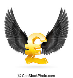 Flying pound - Golden Great Britain pound symbol with black...