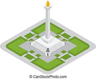 the icon jakarta monas monument - the isometric icon jakarta...