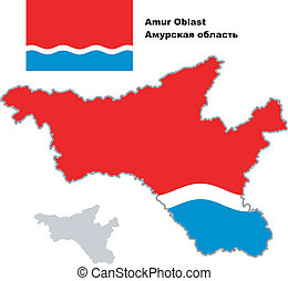 outline map of Amur Oblast with flag - Outline map of Amur...