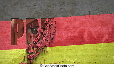 Spying Eyes Crumbling Wall Germany - German flag painted on...