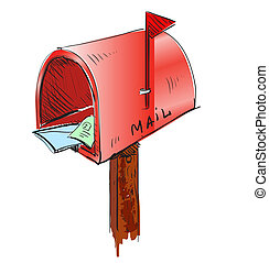 Mailbox cartoon icon. Sketch fast pencil hand drawing...