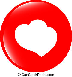 Valentine heart sign, web button isolated on white